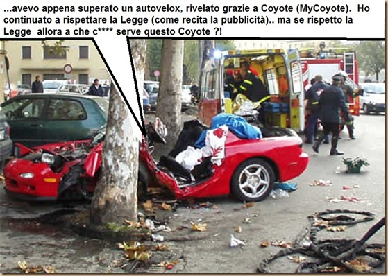 incidente stradale Coyote autovelox