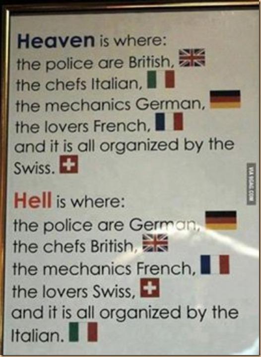 Heaven paradiso VS hell inferno a causa degli italiani disorganizzati