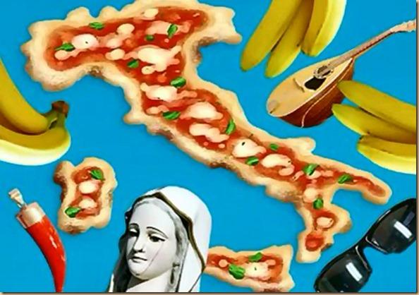 Paese scarpa - pizza mandolino madonne corni banane