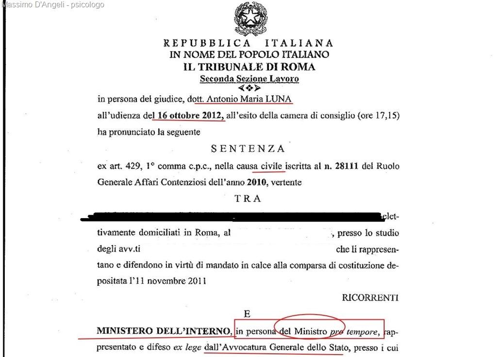 Condannato per mobbing il ministero interno massimo d 39 angeli for I ministero interno