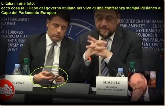 Renzi chatta a conferenza stampa UE con Schultz