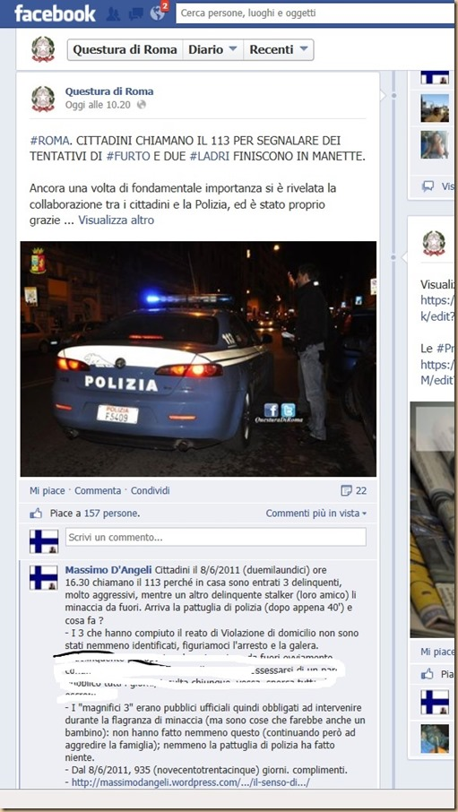 alla Questura di Roma - facebook  - cut