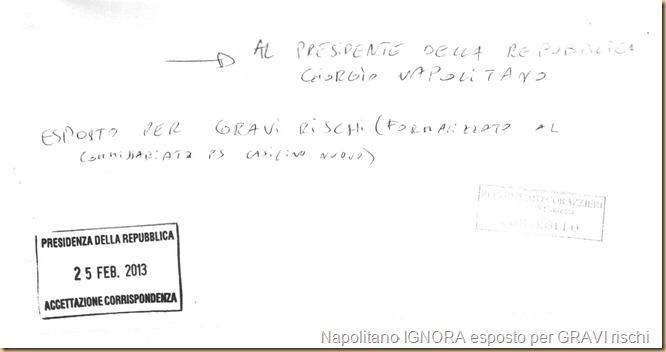 56 PdR Napolitano Esposto gravi rischi ricevuta