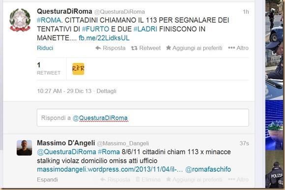 75 Twitter 29 12 2013 questura di Roma Fulvio Della Rocca