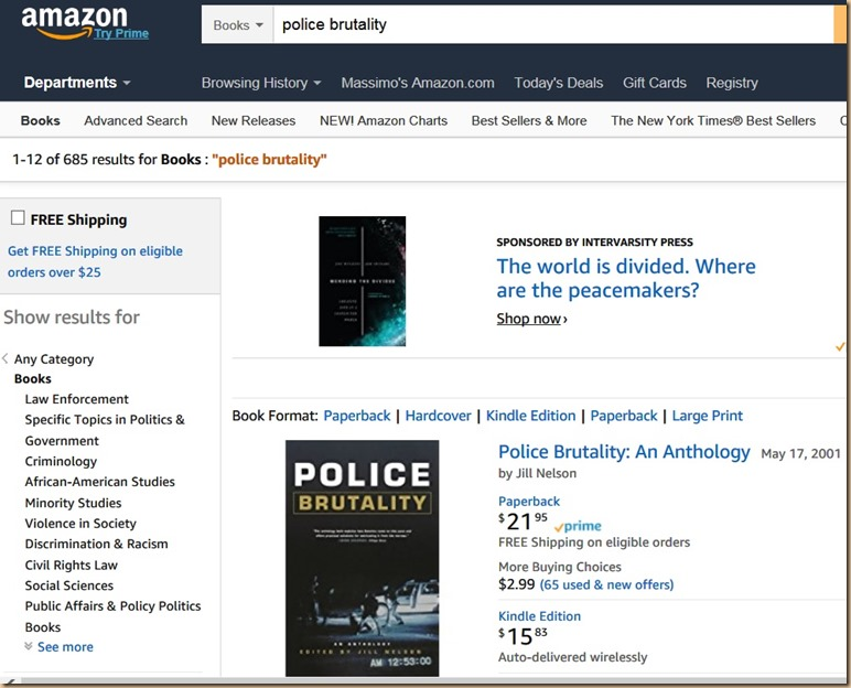 Amazon police brutality USA - 685 books