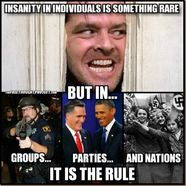 Insanity is rare, but in Groups, Parties and Nations it is the RULE