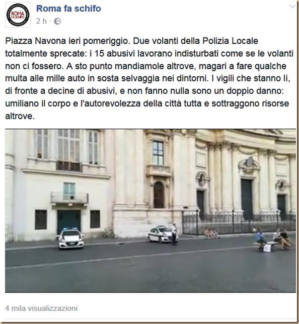Piazza Navona non-presidiata da 2 volanti RFS