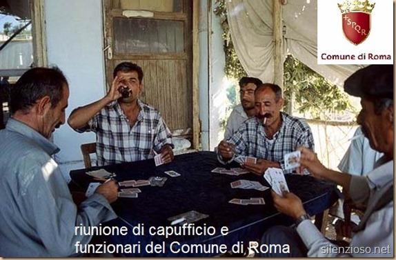 Riunione giocatori a carte Comune Roma