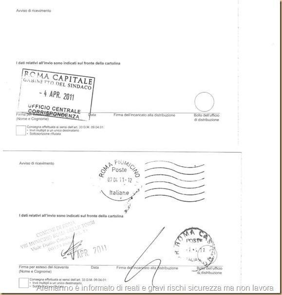 17-18 Ricev raccomandate 12a-b  25-3-2011 Presid8M 1Apr e Sindaco 4Apr 2011-b