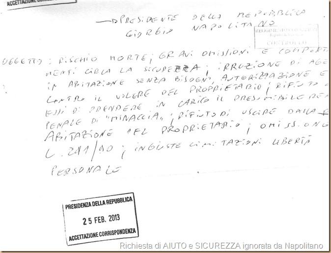 59-3 PdR Napolitano Rischio morte ricevuta 25-02-2013
