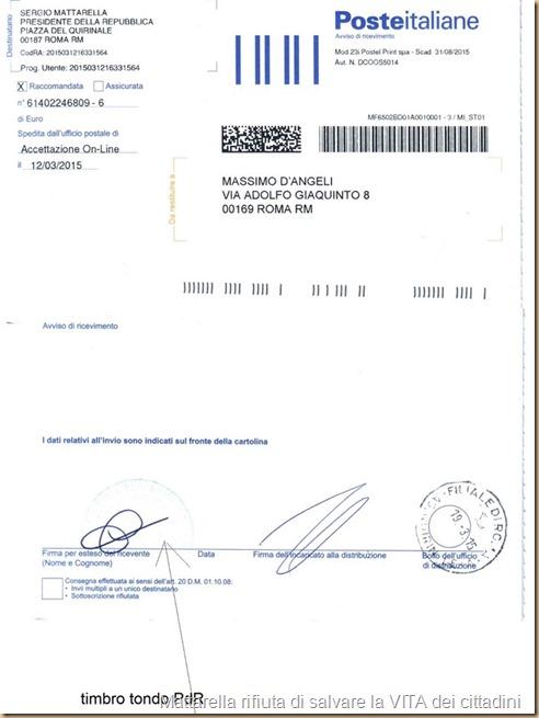 92b2 ricevuta del c.d. presid Mattarella