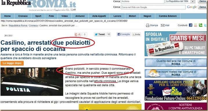 Arrestati 2 poliziotti spacciatori Casilino La Repubblica 26 01 13