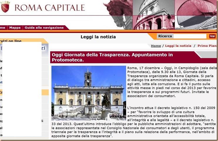 Giornata trasparenza - OMERTA totale da vigili e dal Comune di Roma