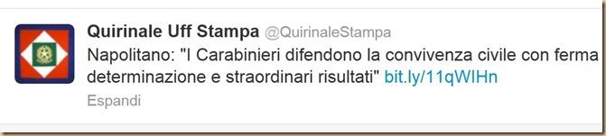 Napolitano -  i carabinieri difendono la convivenza civile - farsa presidenziale
